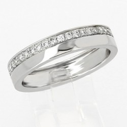 Alliance mariage double demi-tour serti grains diamants 0,20 carat-or 18 carats