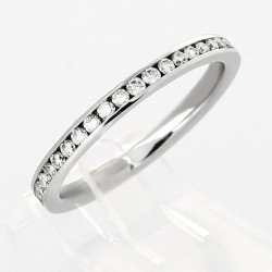 Alliance mariage demi-tour serti rail diamants 0,23 carat-or 18 carats