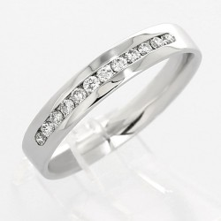 Alliance mariage demi-tour serti rail diamants 0,19 carat-or 18 carats