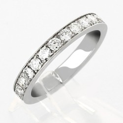 Alliance mariage demi tour serti grains diamants 0,65 carat-or 18 carats