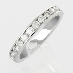 Alliance mariage demi tour serti rail diamants 0,68 carat-or 18 carats