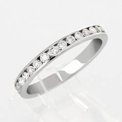 Alliance mariage demi tour serti rail diamants  0,33 carat-or 18 carats