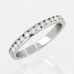 Alliance mariage demi tour serti rail diamants  0,33 carat-or 18 carats