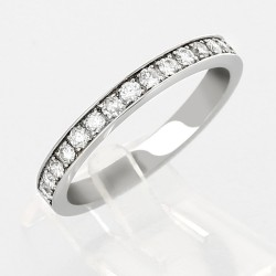 Alliance mariage demi tour serti grains diamants 0,30 carat-or 18 carats