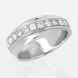 Alliance mariage double anneaux croisés serti grains diamants 0,50 carat-or 18 carats