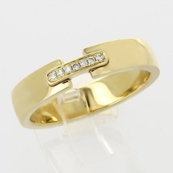 Alliance mariage lien serti grains diamants 0,04 carat-or 18 carats