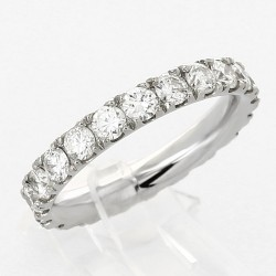 Alliance mariage tour complet serti mini-griffes diamant 1,90ct-or 18 carats