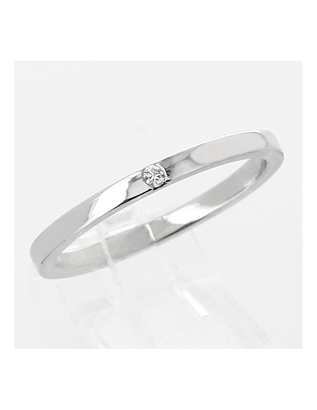 Exceptionnel Alliance mariage femme forme carré 1,8mm or 18 carats - 1 diamant LP99