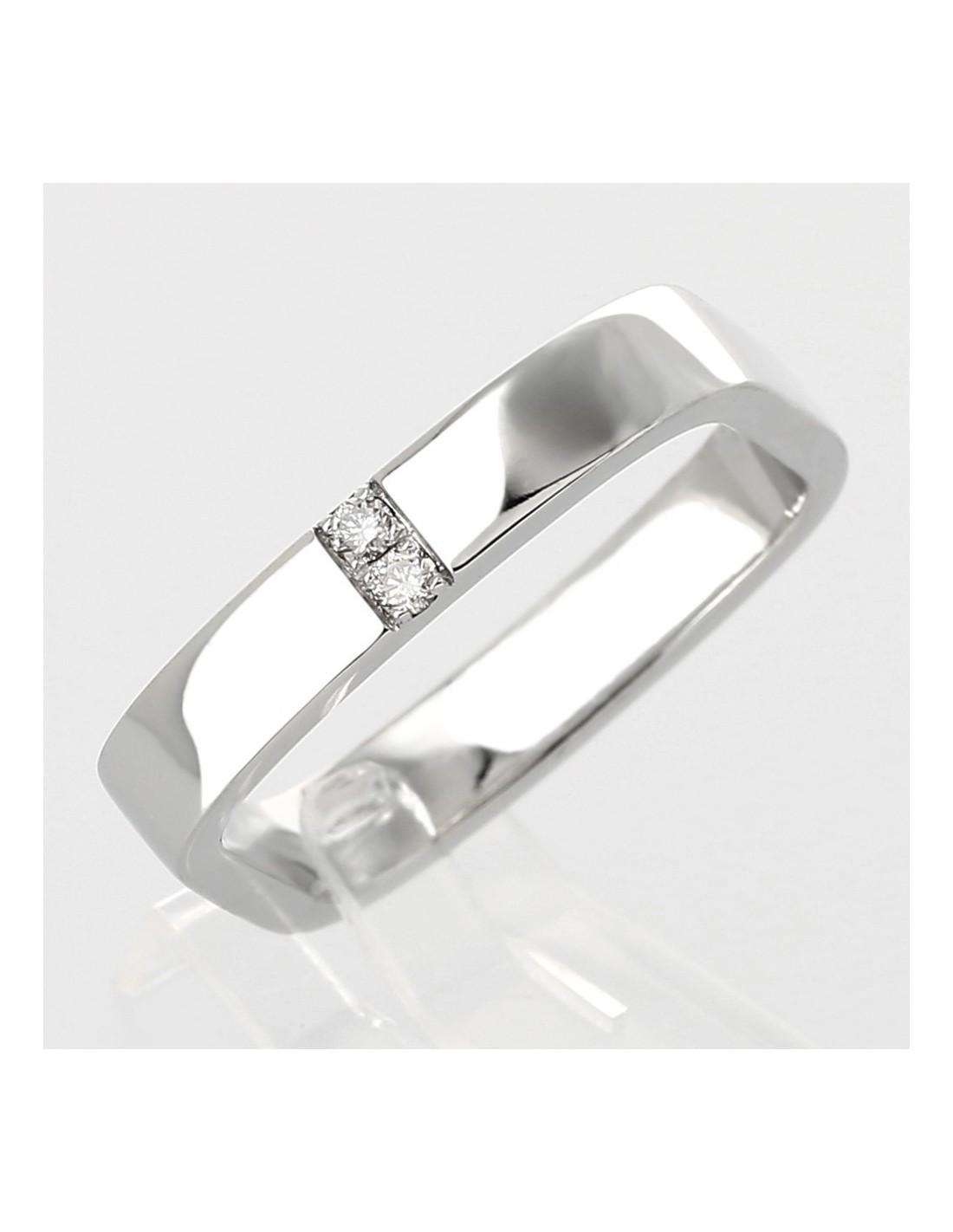 Extrêmement Alliance carrée moderne en or 18 carats diamants 0,07 carat AR51