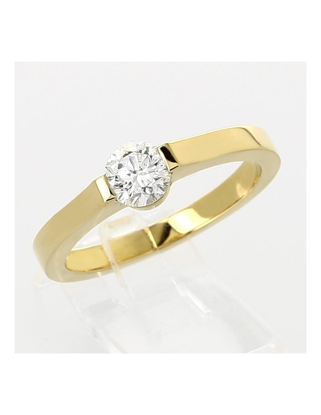 Bien connu Solitaire moderne e or 18 carats serti demi-clos diamant 0,54 carat AC94
