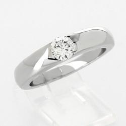 Bague jonc serti demi-clos massé diamant 0,41 carat-or 18 carats