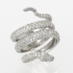 Bague pavée tour complet  serpent diamants 3,69 carats-or 18 carats