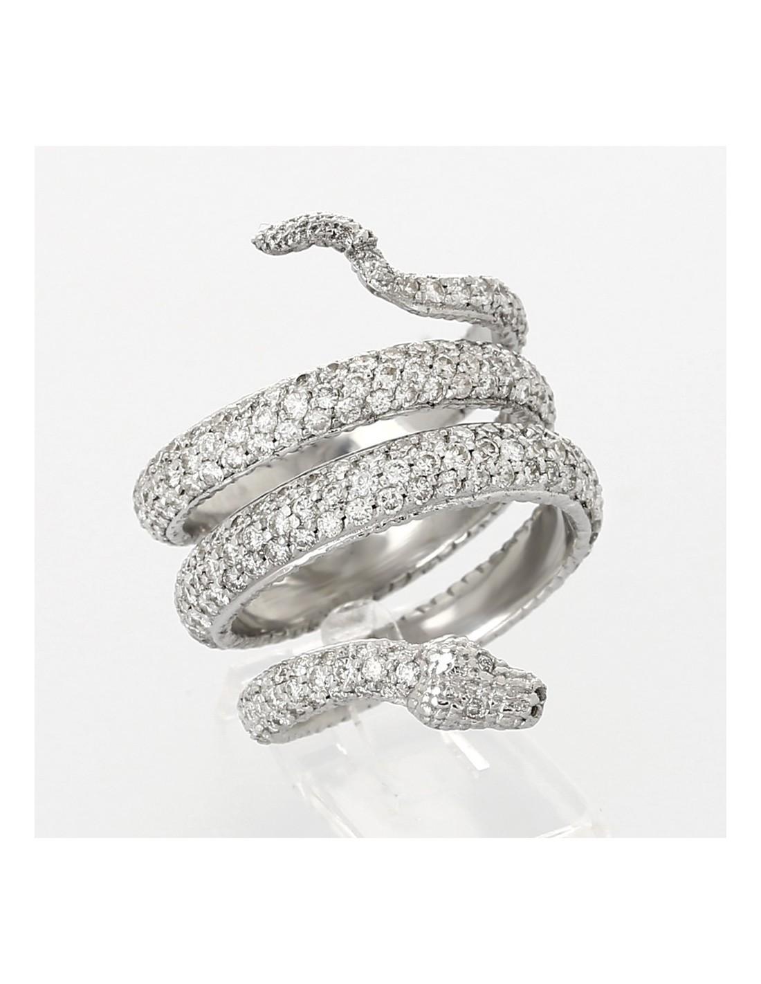 Bague pavée tour complet serpent diamants 3,69 carats,or 18 carats.  Référence bijou A40003