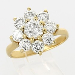 Bague marguerite diamants ronds - or 18 carats - 9 diamants 2,31 carats