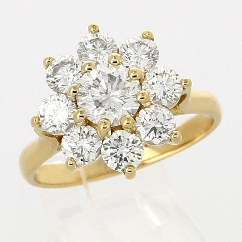 Bien connu Bague marguerite entourage diamants ronds - or 18 carats - 9  TC39