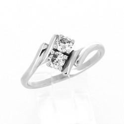 Bague toi et moi mouvement croisé sertissage griffe diamant 0,38 carat au total - or 18 carats