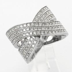 Bague croisée entrelacée pavée  serti grains diamants  1,03 carat-or 18 carats