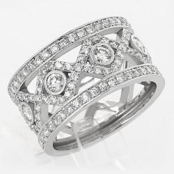 Bague croisillon losange pavée de diamants 1,04 carat - or 18 carats