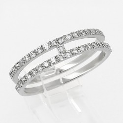 Bague deux anneaux diamants 0,41ct - or 18 carats