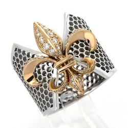 Bague fleur de lys serti grains diamants 0,38 carat-or 18 carats