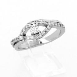 Solitaire diamant pavé en forme d'œil serti griffe diamant 0,48 carat - or 18 carats
