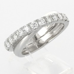 Bague style alliance croisée serti griffes diamants 0,96 carat-or 18 carats