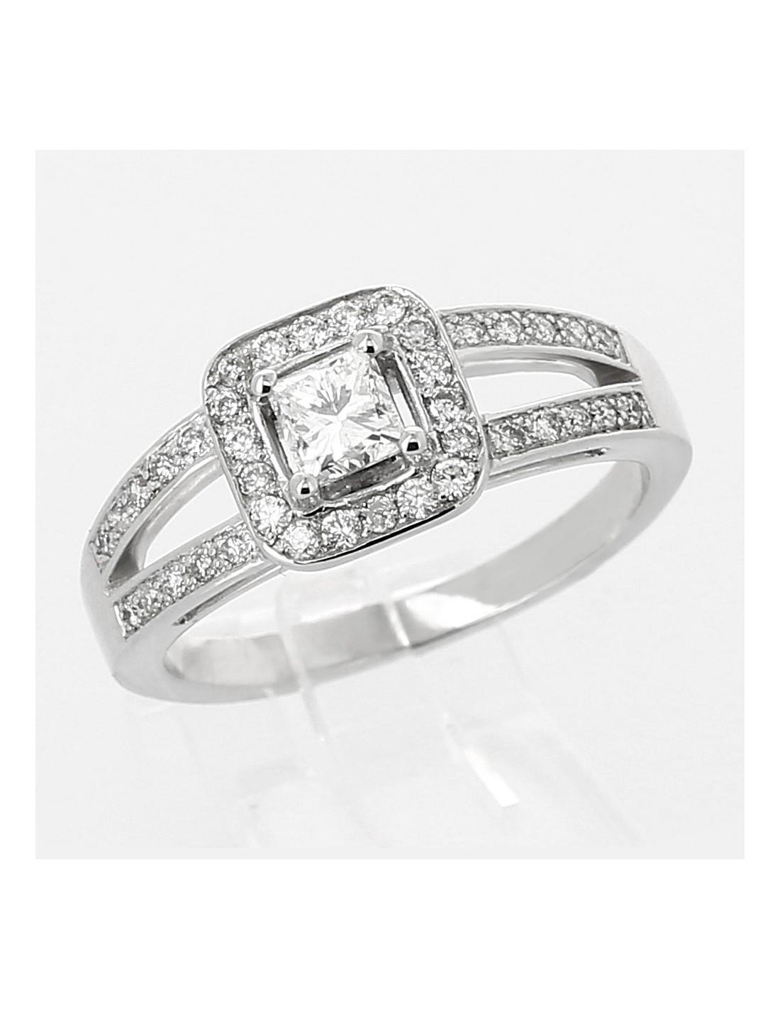Souvent Bague de fiançailles or 18 carats. Diamant taille princesse (carré  CZ99