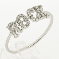 Bague rock or blanc 18 ct serti de 45 diamants ronds