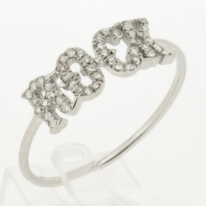 Bague rock or blanc 18 ct serti de 45 diamants ronds