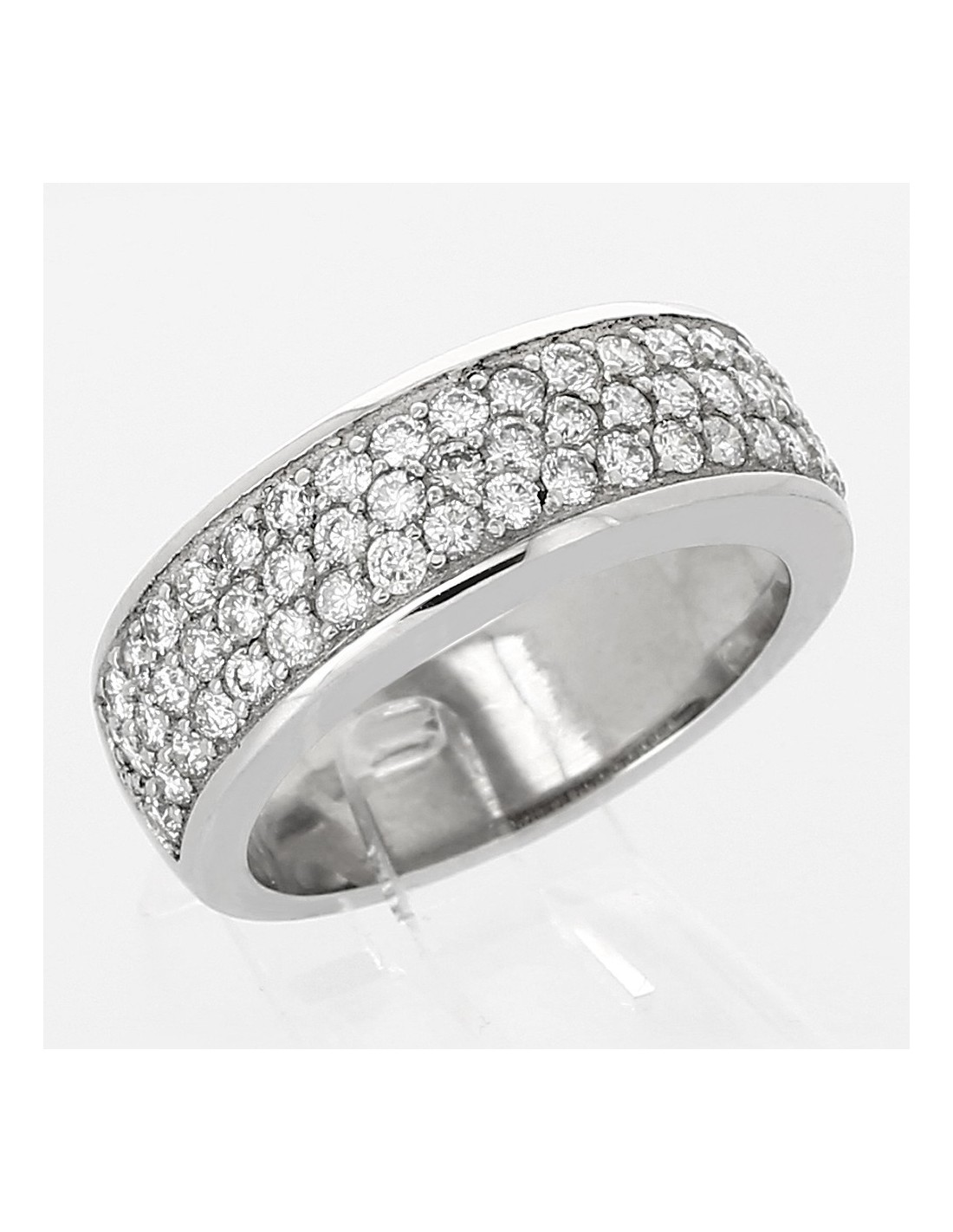 bague pav e de diamants pavage 3 rangs diamants 1 08 carat or 18 ct. Black Bedroom Furniture Sets. Home Design Ideas