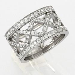 Bague croisillons pavés serti grains diamants 0,95 carat-or 18 carats