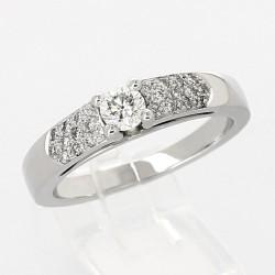 Solitaire corps pavé serti 4 griffes diamants 0,50 carat-or 18 carats