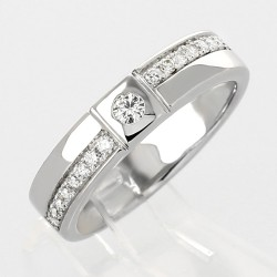 Bague solitaire moderne serti clos diamants 0,23 carat-or 18 carats