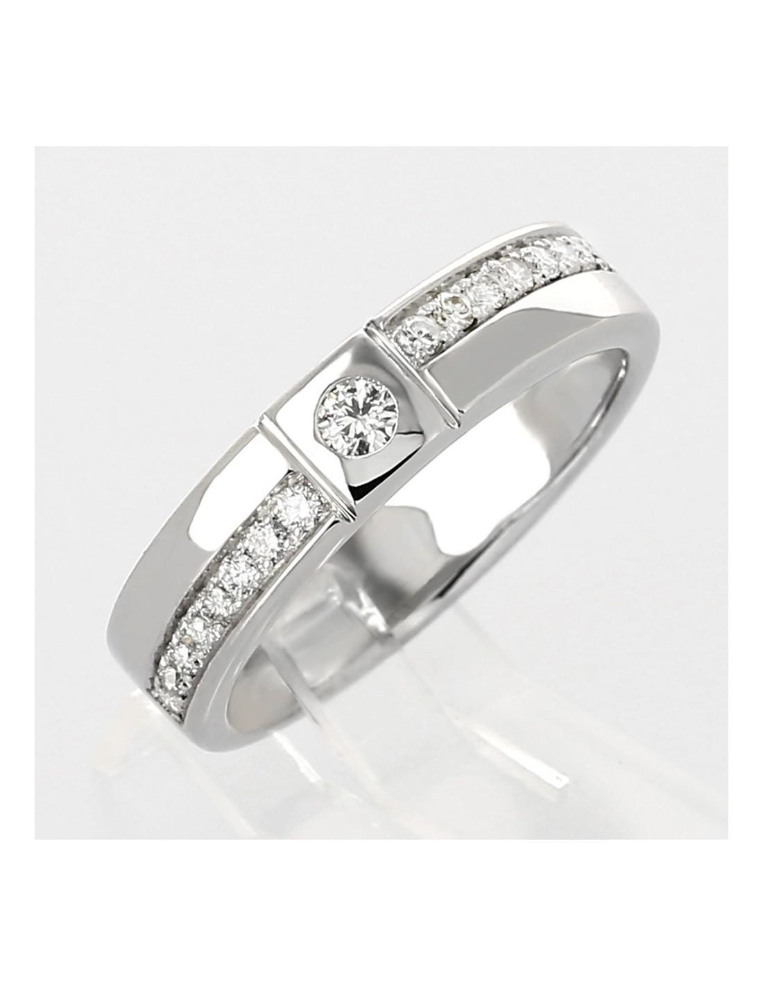 Favori Bague en or 18 carats style solitaire alliance moderne serti clos  KJ79