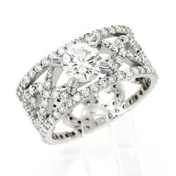 Bague solitaire accompagné sur jonc ajouré serti griffes et mini-griffes diamants 2,49 carats-or 18 carats