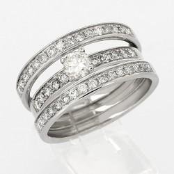 Bague 3 anneaux pavés centre serti griffes diamants 1,08 carat-or 18 carats