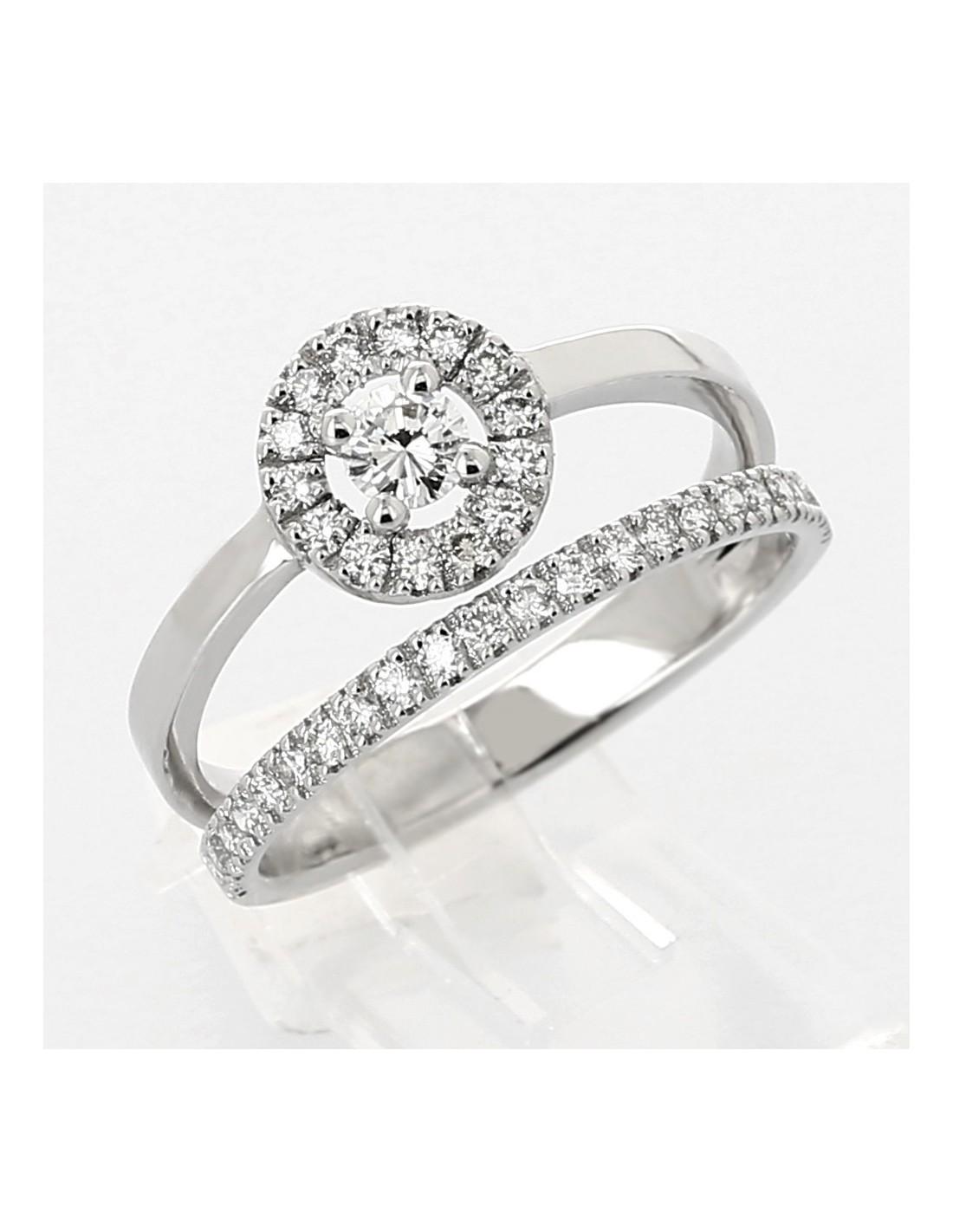 Très Bague moderne double anneau diamant central avec entourage serti  CO17