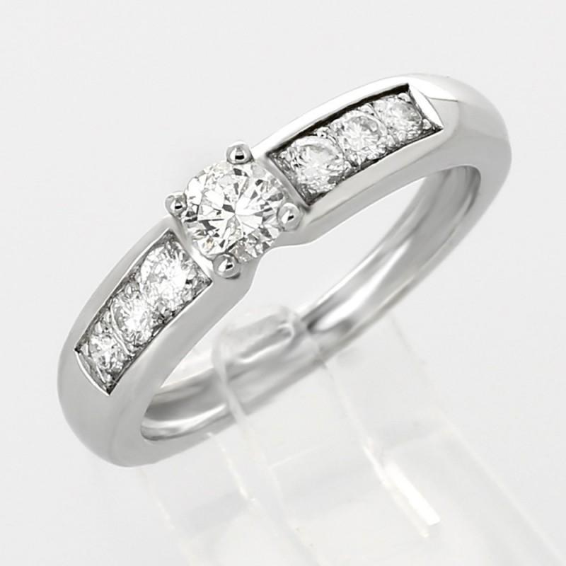 Bague fiancailles solitaire corps pavé diamants 0,52ct-or 18 carats