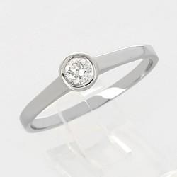 Solitaire ornée d'un diamant serti clos en or 18 carats