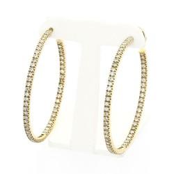 Boucles d'oreilles créoles serties de 120 diamants en serti mini-griffes, pour un caratage total de 1,70 carat-or 18 carats
