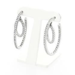 Boucles d'oreilles créoles serti mini griffes diamants 2,01 carats-or 18 carats