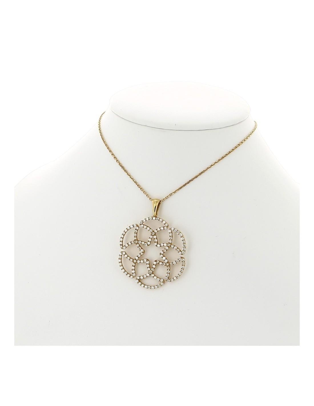 Préférence Collier pendentif femme fleur pavé de 144 diamants serti mini  XM46