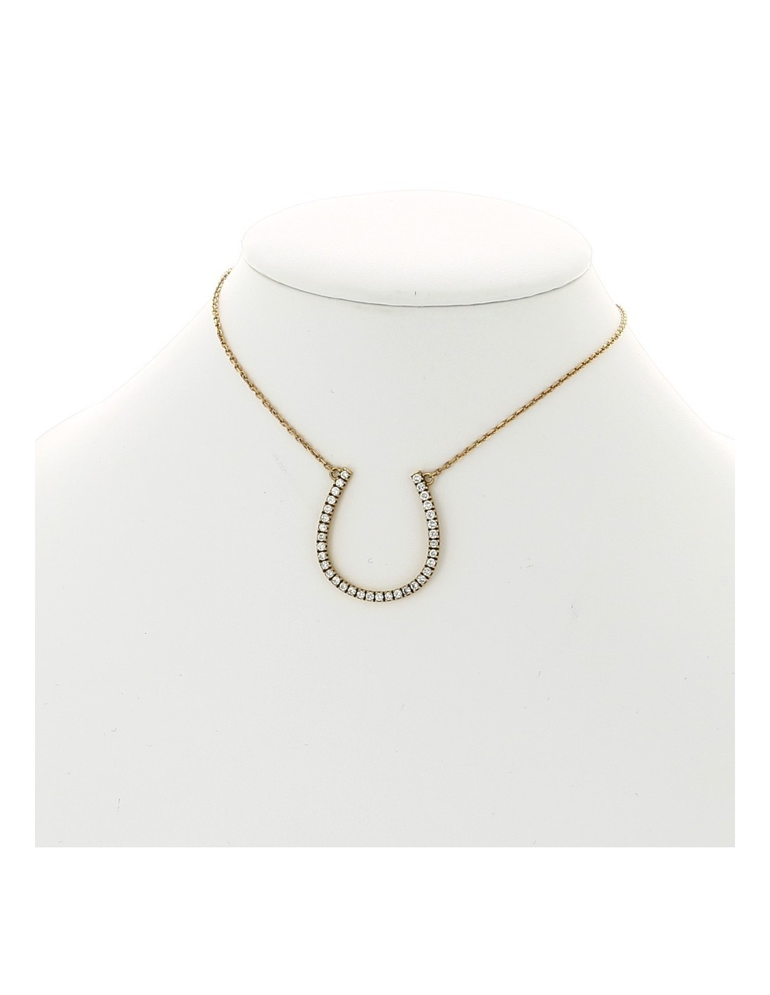 collier pendentif en or 18 carats motif fer cheval serti mini griffes diamants 0 57 carat. Black Bedroom Furniture Sets. Home Design Ideas