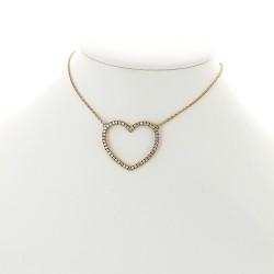 Pendentif collier femme en forme de cœur serti de 50 diamants en mini-griffes pour un caratage de 0,50 carat en or 18 carats