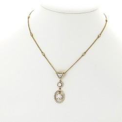 Pendentif collier femme diamant mobile avec entourage monté en pampille (poids total de 1,49 carat) - or 18 carats