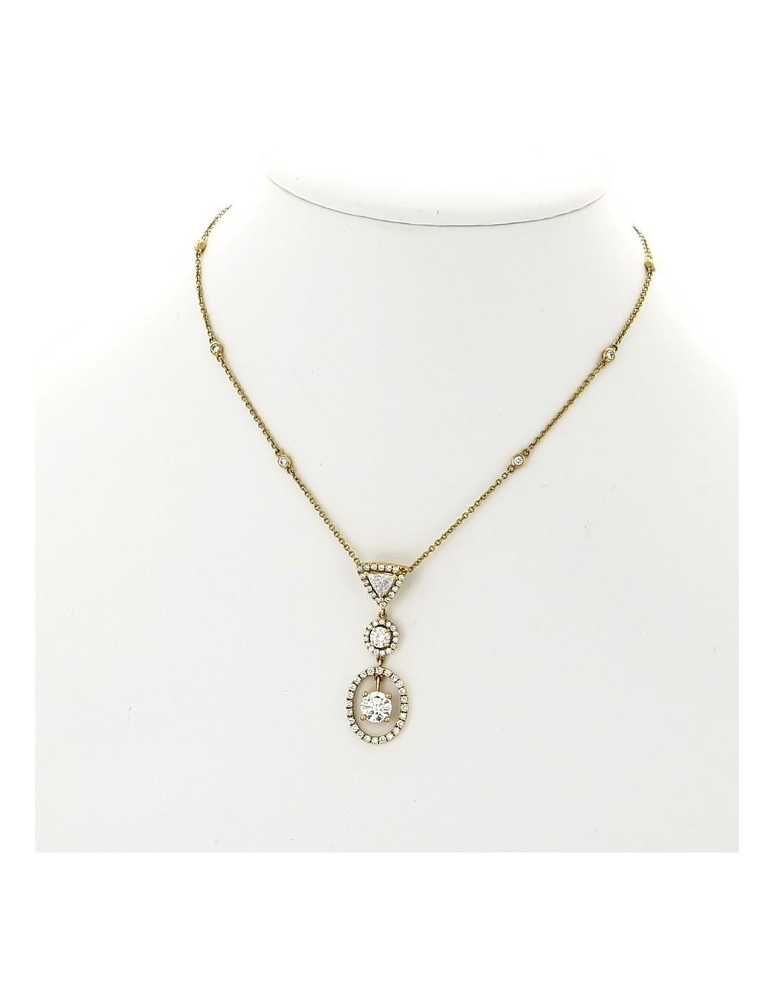 collier pendentif femme pampille de 3 diamants entour s en mini griffes total 1 49 carat or. Black Bedroom Furniture Sets. Home Design Ideas