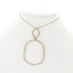 Collier pendentif double motifs micro sertis diamants 1,35 carat-or 18 carats