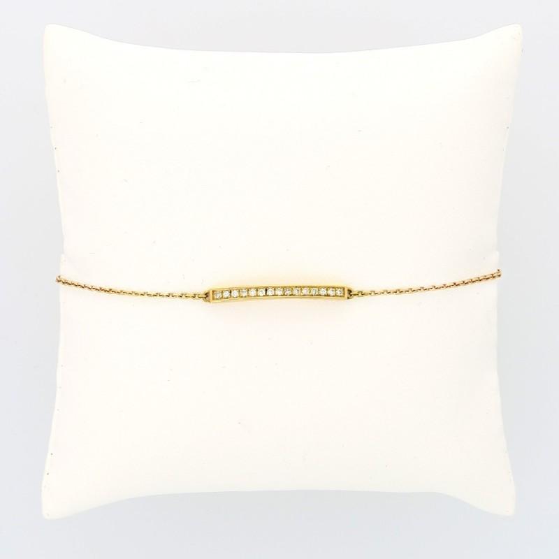 Bracelet plaque barrette simple serti grains diamants 0,22 carat-or 18 carats