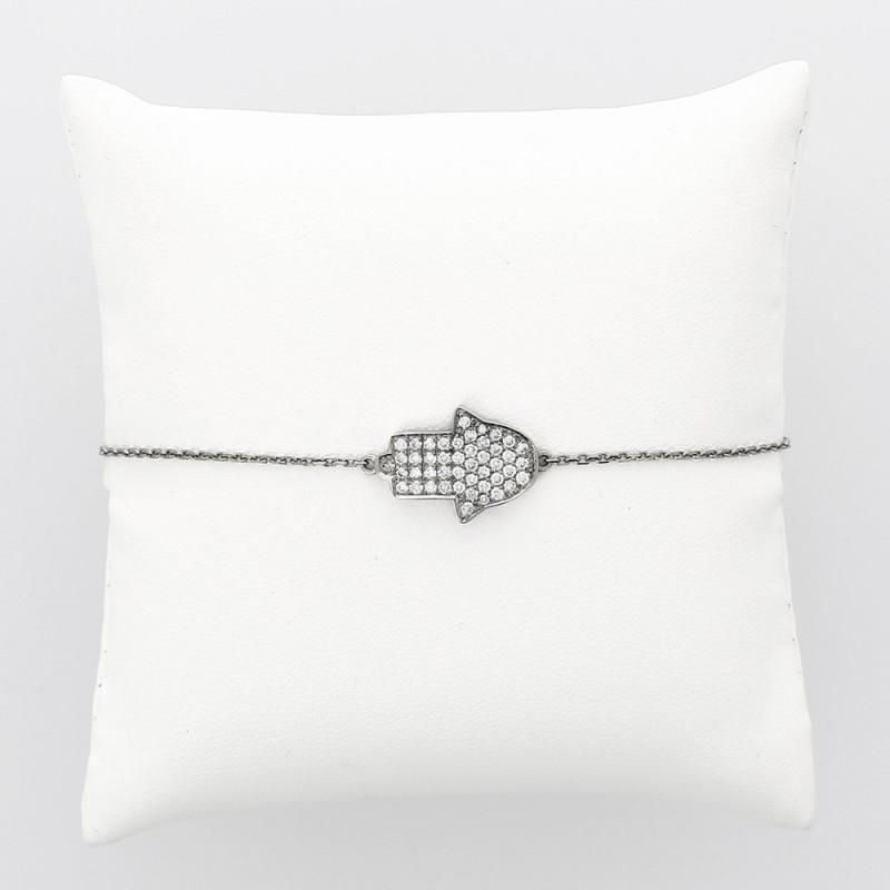 Bracelet femme motif main de fatma en serti grains pour un caratage total de 0,50 carat-or 18 carats