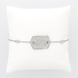 Bracelet plaque GI femme entièrement pavée pour un caratage total de 1,45 carat monté en or 18 carats